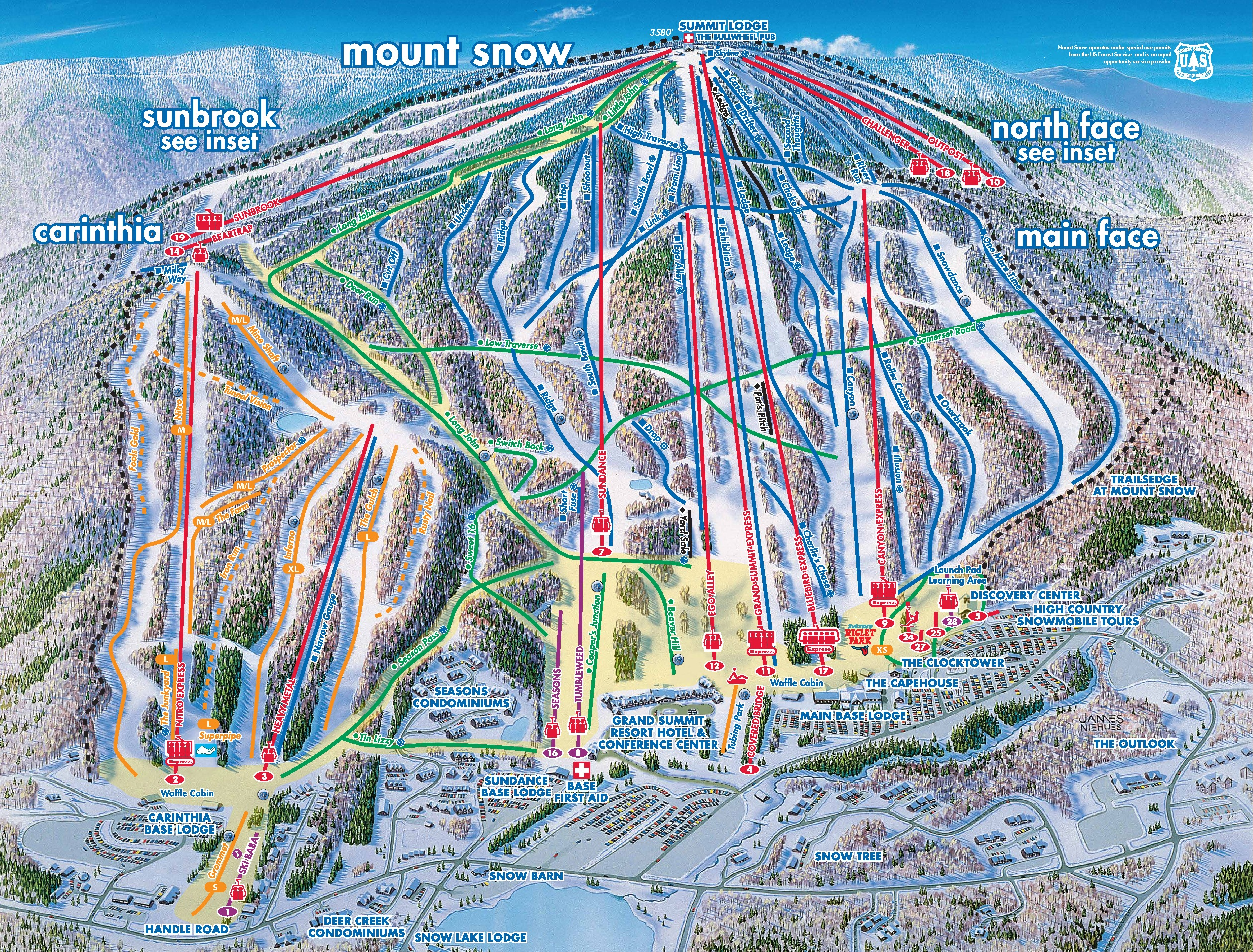 mount snow trail map. vermont trail map guide